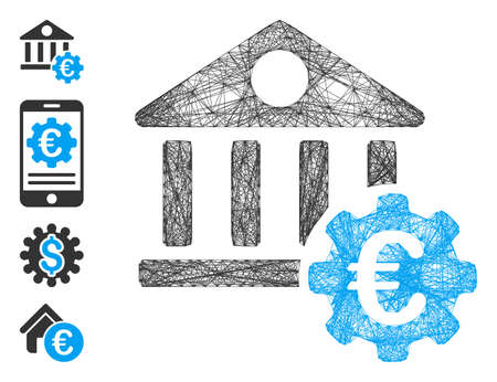Vector net Euro bank building options. Geometric linear carcass 2D net generated with Euro bank building options icon, designed with intersected lines. Some bonus icons are added. 向量圖像