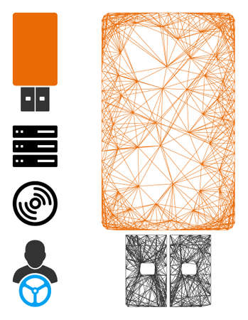 Vector wire frame USB flash drive. Geometric wire frame 2D net based on USB flash drive icon, designed from crossing lines. Some bonus icons are added. Ilustración de vector