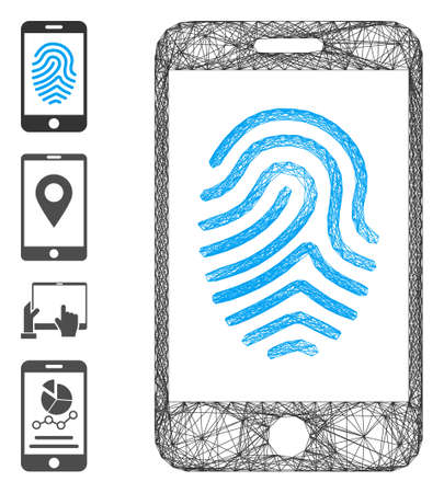 Vector network mobile fingerprint authorization. Geometric hatched carcass flat network generated with mobile fingerprint authorization icon, designed with crossing lines. Some bonus icons are added.