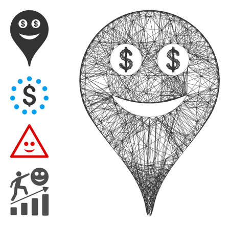 Vector wire frame money smiley map marker. Geometric wire frame flat net made from money smiley map marker icon, designed from crossed lines. Some bonus icons are added.