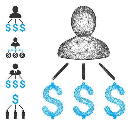 Vector wire frame person expenses. Geometric wire frame 2D network based on person expenses icon, designed with intersected lines. Some bonus icons are added.