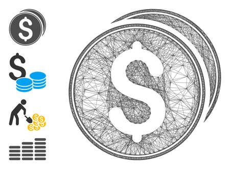 Vector network dollar coins. Geometric hatched carcass 2D network made from dollar coins icon, designed from crossing lines. Some bonus icons are added.