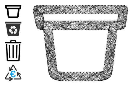 Vector net pail. Geometric wire frame 2D net made from pail icon, designed from crossing lines. Some bonus icons are added.