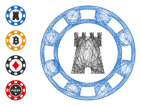 Vector net castle casino chip. Geometric linear carcass 2D net made from castle casino chip icon, designed from intersected lines. Some bonus icons are added.