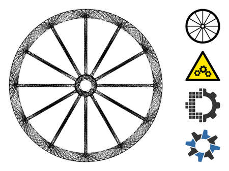 Vector wire frame coach wheel. Geometric hatched frame flat net generated with coach wheel icon, designed with crossed lines. Some bonus icons are added. Stock Illustratie