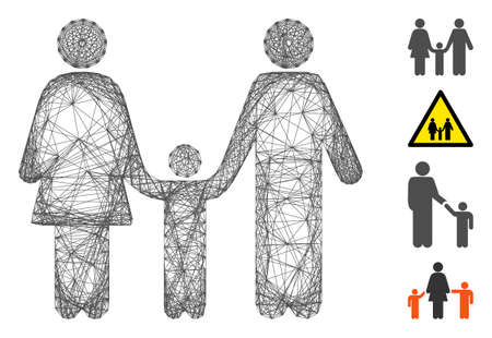 Vector network family child. Geometric wire carcass 2D network made from family child icon, designed from crossing lines. Some bonus icons are added.