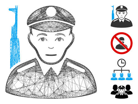 Vector network soldier. Geometric hatched frame flat network made from soldier icon, designed from crossing lines. Some bonus icons are added.
