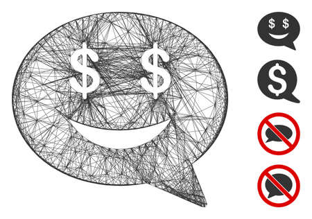 Vector wire frame millionaire message smile. Geometric linear frame 2D net made from millionaire message smile icon, designed from intersected lines. Some bonus icons are added.