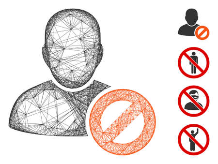 Vector wire frame user forbidden. Geometric wire frame flat network made from user forbidden icon, designed with crossing lines. Some bonus icons are added.