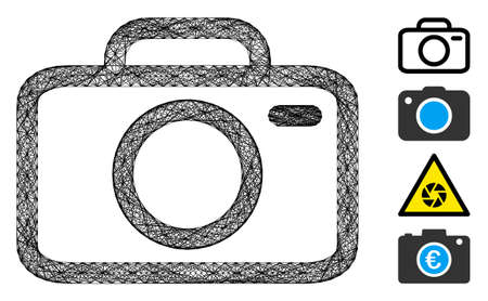 Vector wire frame camera. Geometric wire frame 2D net made from camera icon, designed from crossing lines. Some bonus icons are added.