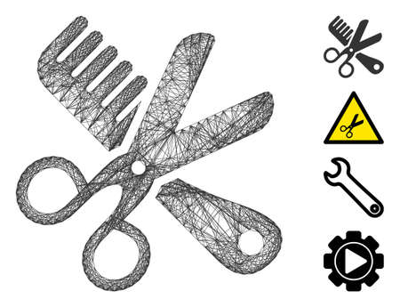 Vector wire frame comb and scissors tools. Geometric wire carcass 2D network made from comb and scissors tools icon, designed from crossed lines. Some bonus icons are added.