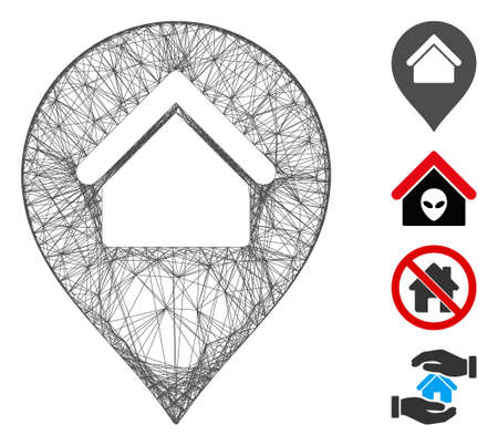 Vector wire frame home marker. Geometric wire carcass 2D network made from home marker icon, designed from crossed lines. Some bonus icons are added.
