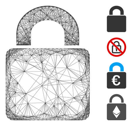 Vector network lock. Geometric wire frame flat network made from lock icon, designed with crossing lines. Some bonus icons are added.