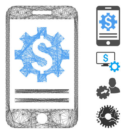 Vector wire frame mobile bank options. Geometric linear frame 2D net made from mobile bank options icon, designed with intersected lines. Some bonus icons are added.