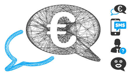 Vector wire frame Euro chat. Geometric wire carcass flat network made from Euro chat icon, designed from intersected lines. Some bonus icons are added.