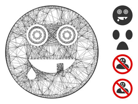 Vector net maniac smiley. Geometric wire frame 2D net generated with maniac smiley icon, designed with crossing lines. Some bonus icons are added.
