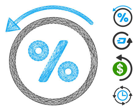 Vector net rebate percent. Geometric wire carcass flat net generated with rebate percent icon, designed with crossing lines. Some bonus icons are added.