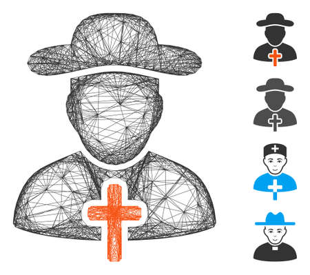 Vector network cleric. Geometric wire carcass flat network made from cleric icon, designed from crossed lines. Some bonus icons are added. Vettoriali