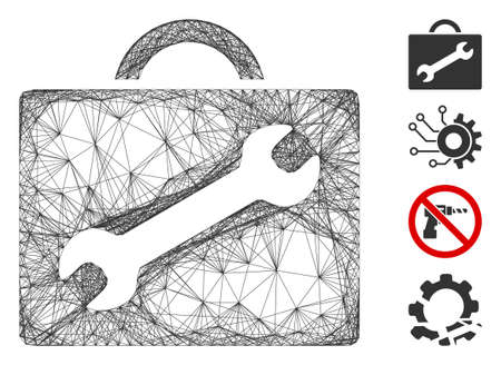Vector net repair equipment case. Geometric linear carcass 2D net made from repair equipment case icon, designed from crossed lines. Some bonus icons are added.