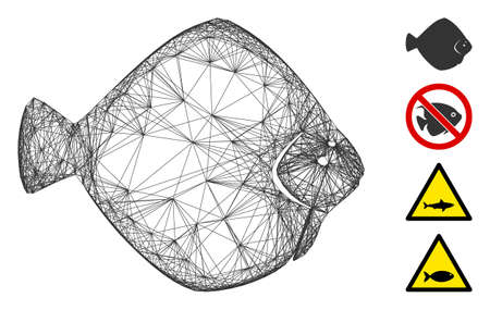 Vector wire frame flounder fish. Geometric wire frame flat network made from flounder fish icon, designed from crossing lines. Some bonus icons are added.