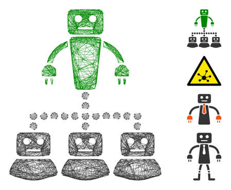 Vector wire frame robot manager. Geometric wire frame 2D network generated with robot manager icon, designed with crossed lines. Some bonus icons are added.