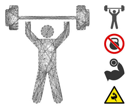 Vector net power lifting. Geometric hatched carcass 2D net made from power lifting icon, designed from intersected lines. Some bonus icons are added.