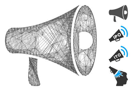 Vector wire frame megaphone. Geometric wire frame flat net made from megaphone icon, designed from crossed lines. Some bonus icons are added.