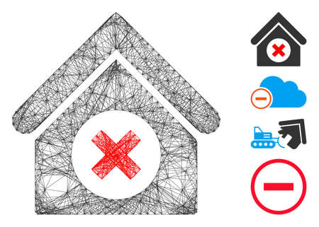 Vector net delete building. Geometric linear frame flat net made from delete building icon, designed from intersected lines. Some bonus icons are added. Ilustração