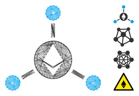 Vector wire frame Ethereum connections. Geometric wire frame flat net made from Ethereum connections icon, designed from intersected lines. Some bonus icons are added. 向量圖像