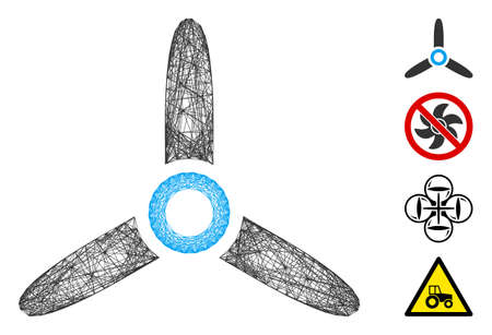 Vector net propeller. Geometric linear carcass flat net made from propeller icon, designed from crossing lines. Some bonus icons are added.