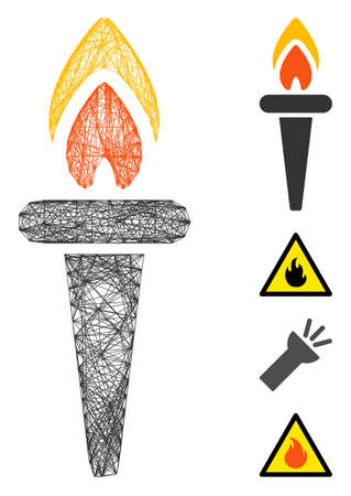 Vector network fire torch. Geometric hatched frame flat network made from fire torch icon, designed from crossed lines. Some bonus icons are added.