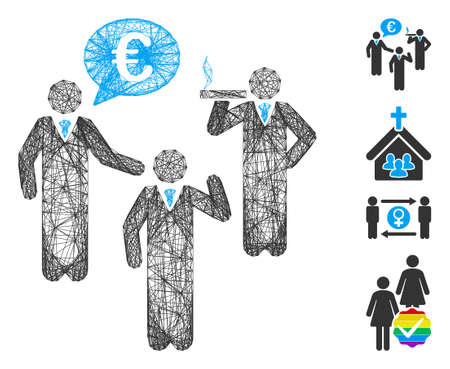 Vector network Euro discuss people. Geometric linear carcass flat network made from Euro discuss people icon, designed from crossed lines. Some bonus icons are added. 矢量图像