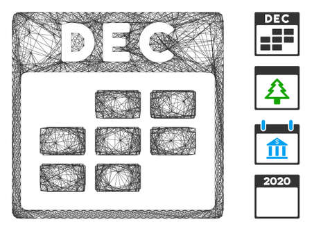 Vector wire frame December calendar grid. Geometric linear frame flat network generated with December calendar grid icon, designed with crossed lines. Some bonus icons are added. Stock Illustratie