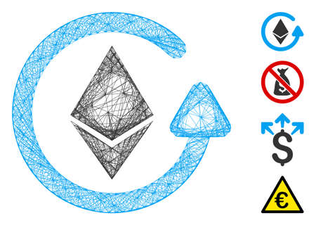 Vector network Ethereum refund. Geometric hatched frame 2D network made from Ethereum refund icon, designed from crossed lines. Some bonus icons are added.