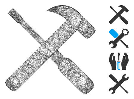 Vector wire frame hammer and screwdriver tools. Geometric linear frame flat network made from hammer and screwdriver tools icon, designed from crossed lines. Some bonus icons are added.