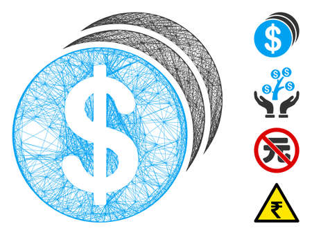 Vector wire frame dollar coins. Geometric wire frame flat network made from dollar coins icon, designed with crossing lines. Some bonus icons are added. Çizim
