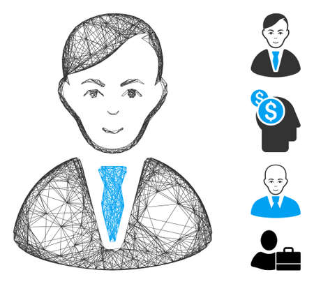 Vector wire frame businessman. Geometric linear frame 2D net made from businessman icon, designed from crossing lines. Some bonus icons are added.