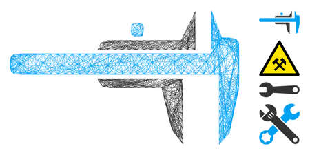 Vector net calipers. Geometric wire frame flat network made from calipers icon, designed from crossing lines. Some bonus icons are added. Illustration