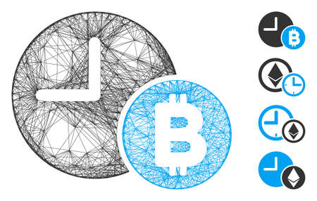 Vector wire frame Bitcoin credit clock. Geometric wire frame flat network made from Bitcoin credit clock icon, designed from intersected lines. Some bonus icons are added. Çizim