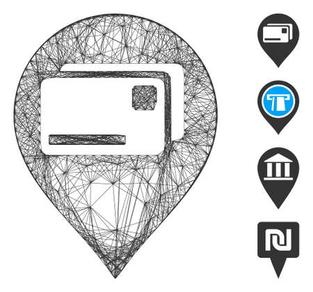 Vector wire frame bank cards pointer. Geometric wire frame flat network based on bank cards pointer icon, designed from crossed lines. Some bonus icons are added.
