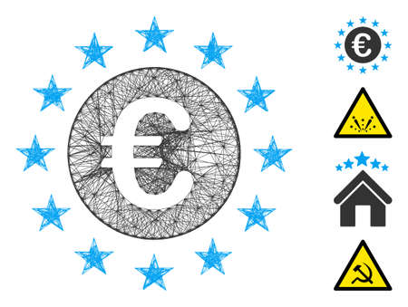 Vector network Euro union stars. Geometric hatched carcass flat network made from Euro union stars icon, designed from intersected lines. Some bonus icons are added.