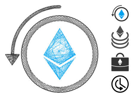 Vector net refund Ethereum crystal. Geometric wire frame 2D net generated with refund Ethereum crystal icon, designed with crossed lines. Some bonus icons are added.
