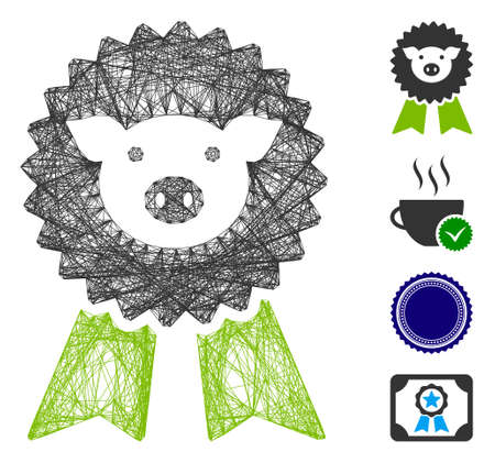 Vector wire frame pig award seal. Geometric wire carcass 2D network generated with pig award seal icon, designed with crossed lines. Some bonus icons are added. 矢量图像