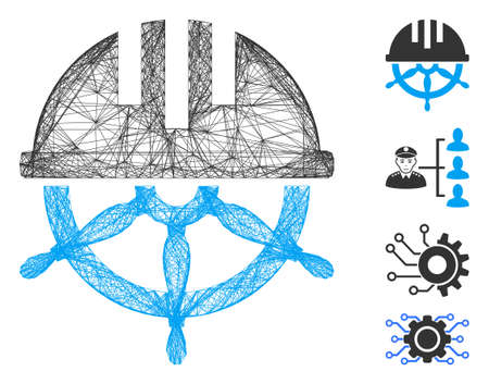 Vector network covered steering wheel. Geometric hatched carcass flat network generated with covered steering wheel icon, designed with intersected lines. Some bonus icons are added.
