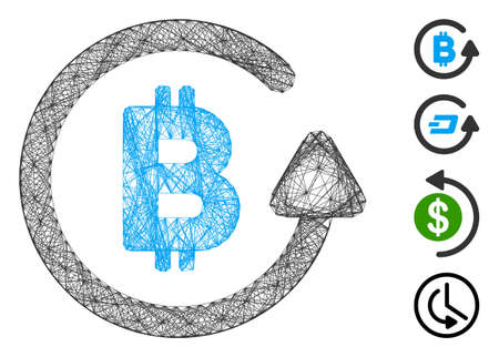 Vector net Bitcoin refund. Geometric wire frame flat net made from Bitcoin refund icon, designed from intersected lines. Some bonus icons are added. Ilustração
