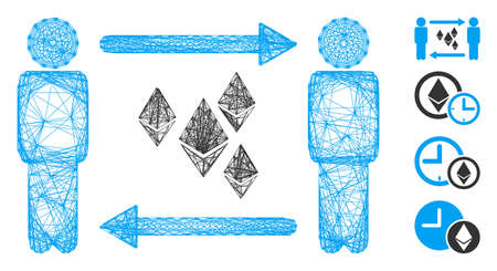Vector net people exchange Ethereum crystals. Geometric hatched frame 2D net made from people exchange Ethereum crystals icon, designed from crossed lines. Some bonus icons are added. Çizim