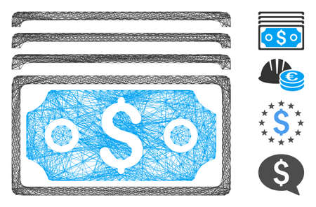 Vector wire frame dollar banknotes. Geometric wire frame 2D network made from dollar banknotes icon, designed with intersected lines. Some bonus icons are added.