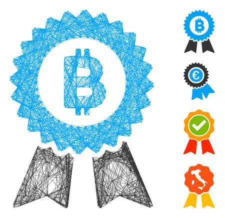 Vector wire frame Bitcoin seal with ribbons. Geometric wire frame 2D network generated with Bitcoin seal with ribbons icon, designed with crossing lines. Some bonus icons are added.