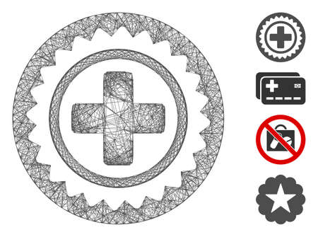 Vector network medical cross stamp. Geometric linear carcass flat network generated with medical cross stamp icon, designed with crossing lines. Some bonus icons are added.