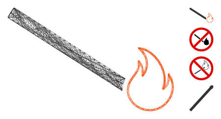 Vector wire frame match flame. Geometric wire frame 2D net based on match flame icon, designed with intersected lines. Some bonus icons are added.